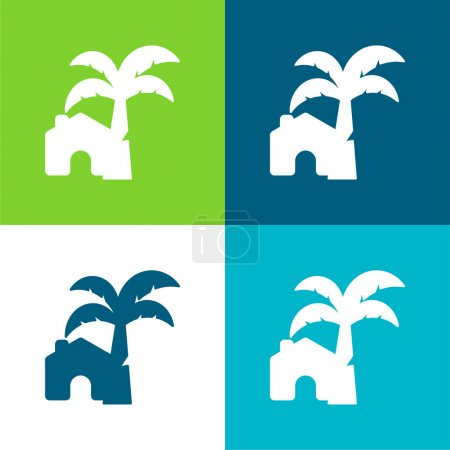 Illustration for Beach House Flat four color minimal icon set - Royalty Free Image