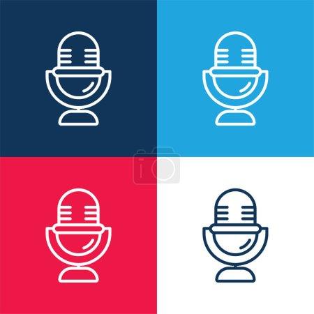 Illustration pour Ensemble d'icônes minimal quatre couleurs bleu et rouge audio - image libre de droit