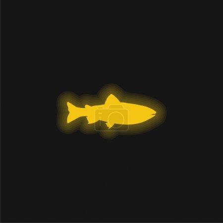 Illustration pour Amago Fish Forme jaune brillant icône néon - image libre de droit