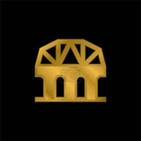 Illustration pour Pont plaqué or icône métallique ou logo vecteur - image libre de droit