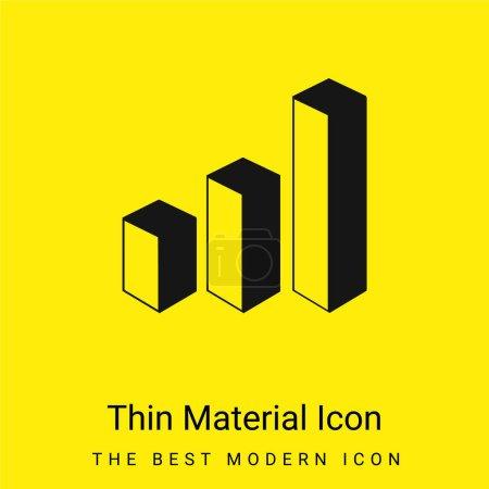 Illustration pour Barres d'analyse de données 3d Icône matérielle jaune vif minimale graphique - image libre de droit