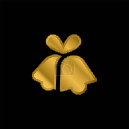 Bells gold plated metalic icon or logo vector
