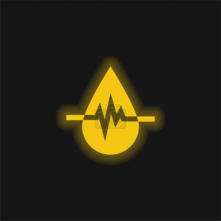 Illustration for Blood Donation yellow glowing neon icon - Royalty Free Image