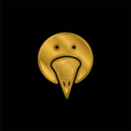 Illustration pour Portrait d'oiseau icône métallique plaqué or ou vecteur de logo - image libre de droit