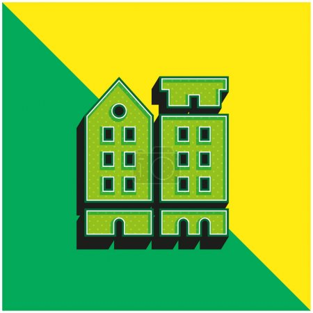Illustration for Amsterdam Green and yellow modern 3d vector icon logo - Royalty Free Image
