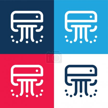 Photo for Air Conditioner blue and red four color minimal icon set - Royalty Free Image