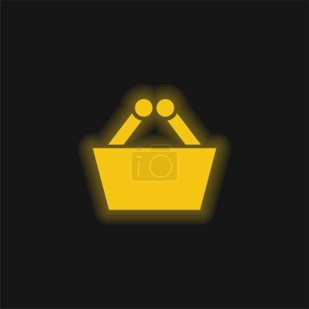 Photo pour Panier jaune flamboyant icône néon - image libre de droit