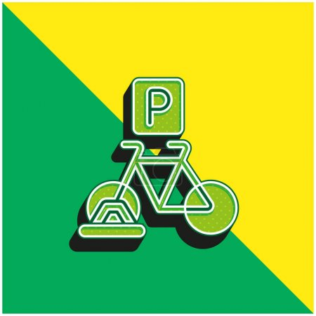 Illustration for Bicycle Parking Green and yellow modern 3d vector icon logo - Royalty Free Image