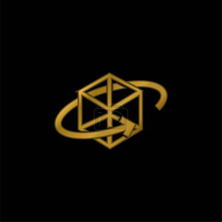 Cube imprimé 3d avec flèche circulaire autour de l'icône métallique plaqué or ou vecteur de logo
