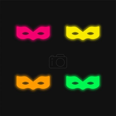 Anonymous four color glowing neon vector icon
