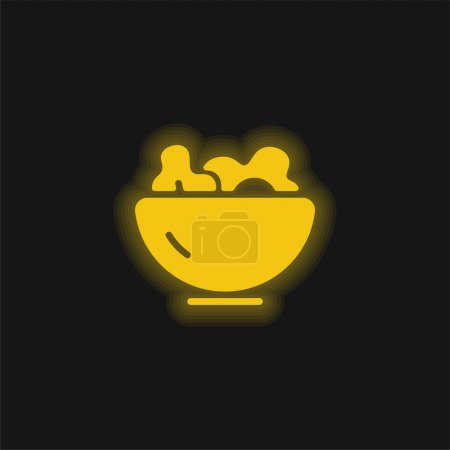 Illustration for Bowl yellow glowing neon icon - Royalty Free Image
