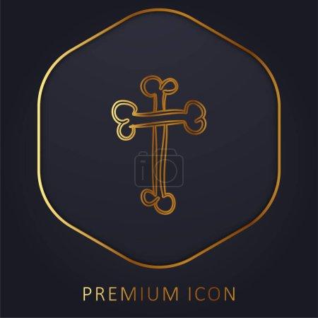 Illustration for Bones Cross Religious Halloween Sign Outline golden line premium logo or icon - Royalty Free Image