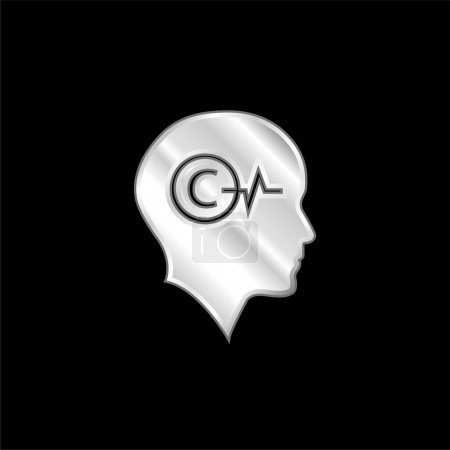Illustration for Bald Head With Copyright Symbol And Lifeline Inside silver plated metallic icon - Royalty Free Image