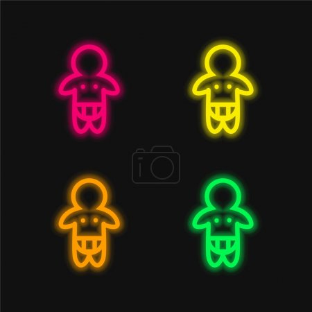 Baby Wearing Diaper Only Outline four color glowing neon vector icon