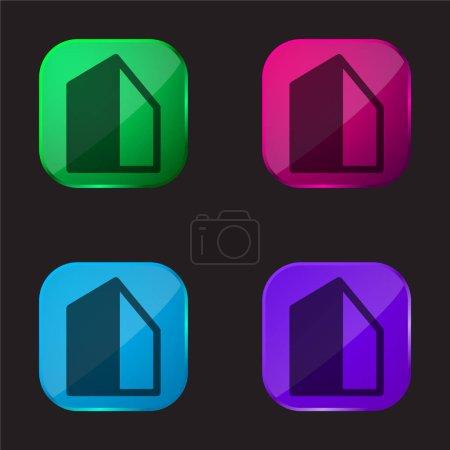 Photo pour Big Building icône de bouton en verre quatre couleurs - image libre de droit