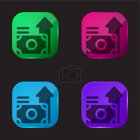 Illustration pour Avantages icône de bouton en verre de quatre couleurs - image libre de droit