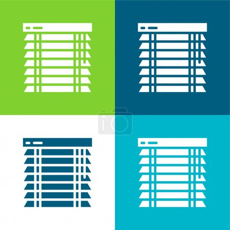 Illustration pour Stores Ensemble d'icônes minimal plat à quatre couleurs - image libre de droit
