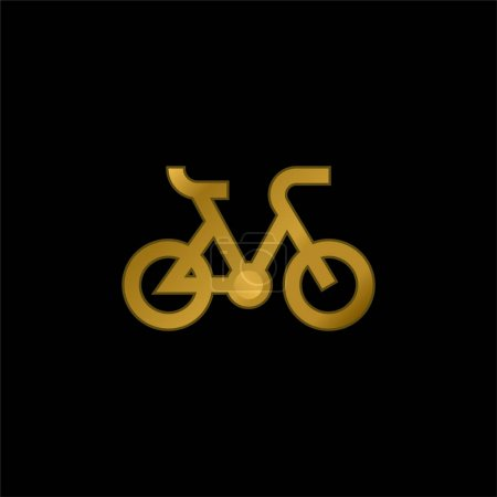 Illustration for Bike gold plated metalic icon or logo vector - Royalty Free Image
