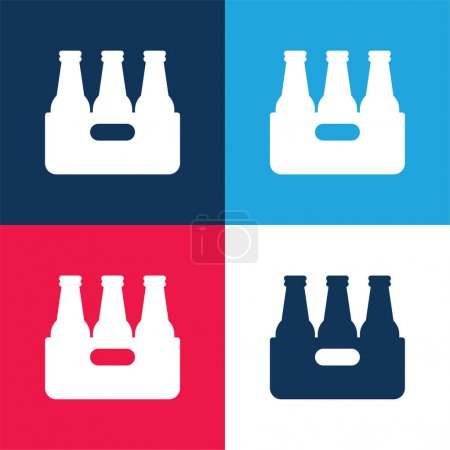 Beer blue and red four color minimal icon set
