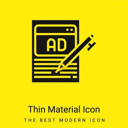 Publicité minimale jaune vif icône matérielle