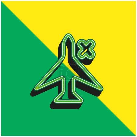 Illustration pour Plaque d'avion avec une croix pour l'interface téléphonique Logo vectoriel 3D moderne vert et jaune - image libre de droit