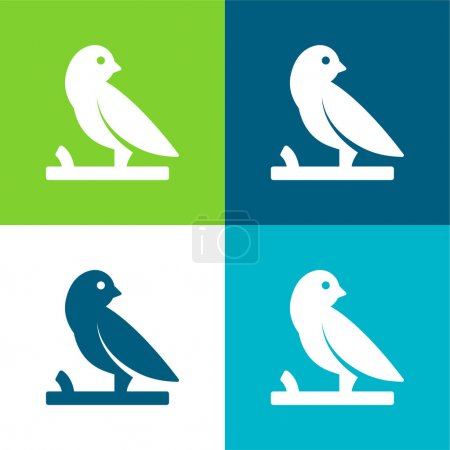 Bird On A Branch Flat four color minimal icon set
