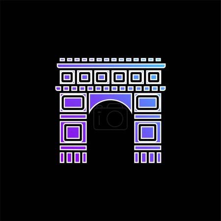 Arc De Triomphe blue gradient vector icon