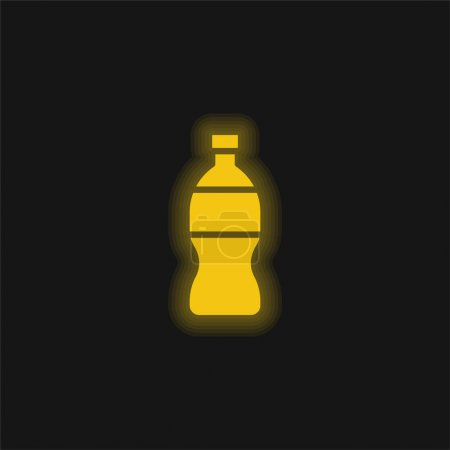 Illustration for Bottle yellow glowing neon icon - Royalty Free Image