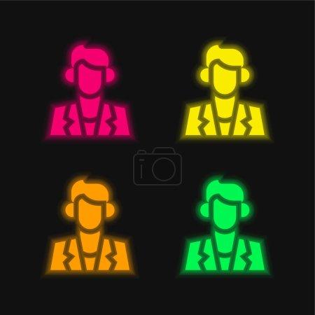 Illustration pour Acteur quatre couleur brillant icône vectorielle néon - image libre de droit