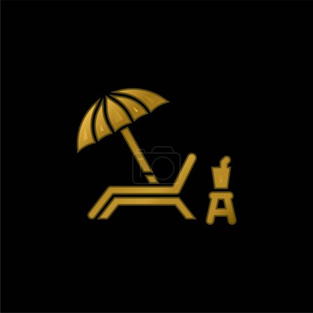 Photo for Beach Chair gold plated metalic icon or logo vector - Royalty Free Image