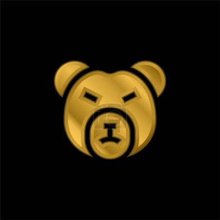 Bear Market gold plated metalic icon or logo vector
