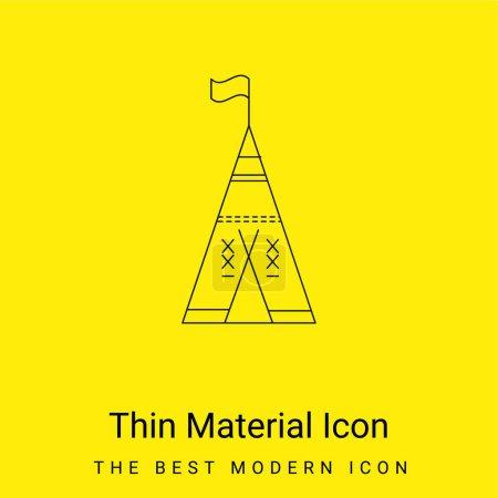 Illustration pour Tente tribale africaine avec drapeau icône matérielle jaune vif minimale - image libre de droit