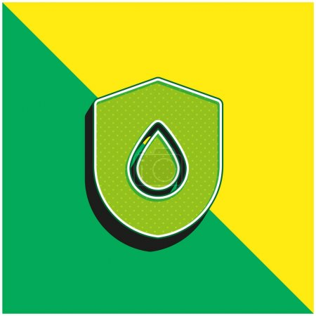 Illustration for Blood Drop Green and yellow modern 3d vector icon logo - Royalty Free Image