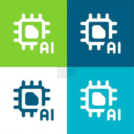 Illustration for Artificial Intelligence Flat four color minimal icon set - Royalty Free Image