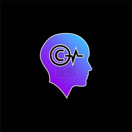 Illustration pour Tête chauve avec symbole de droit d'auteur et ligne de vie à l'intérieur bleu dégradé icône vectorielle - image libre de droit