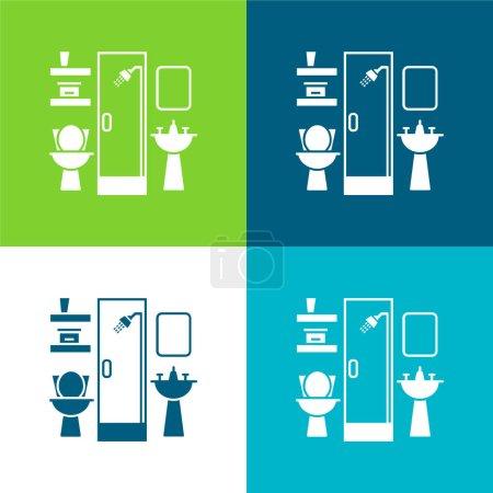Bathroom Furniture Flat four color minimal icon set