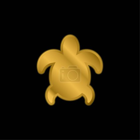 Big Turtle gold plated metalic icon or logo vector