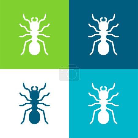 Illustration pour Ensemble d'icônes minime fourmi plate quatre couleurs - image libre de droit