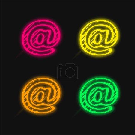 Arroba Sketched Social Symbol Outline four color glowing neon vector icon