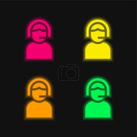 Illustration pour Assistance quatre couleur brillant icône vectorielle néon - image libre de droit