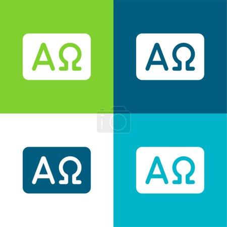 Photo pour Ensemble d'icônes minimal Alpha et Omega Flat quatre couleurs - image libre de droit