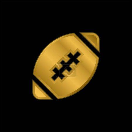 American Football plaqué or icône métallique ou logo vecteur