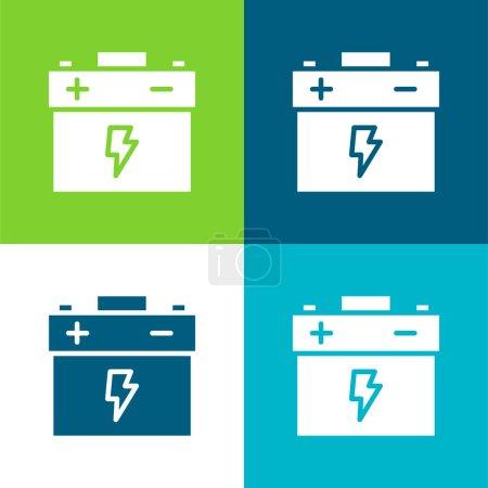 Illustration pour Batterie Flat quatre couleurs minimum jeu d'icônes - image libre de droit