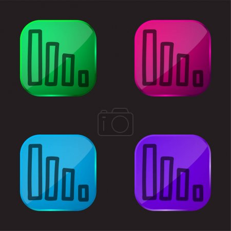 Illustration for Bars Graphic Hand Drawn Outlines four color glass button icon - Royalty Free Image