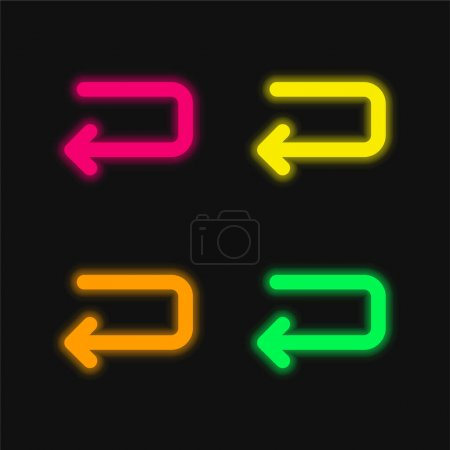Illustration for Back Left Arrow Of Returning Angle four color glowing neon vector icon - Royalty Free Image