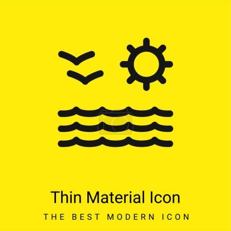 Widok na morze słońce i mewy Para minimalna jasnożółty materiał ikona