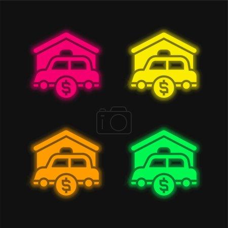 Illustration pour Actifs quatre couleur brillant icône vectorielle néon - image libre de droit