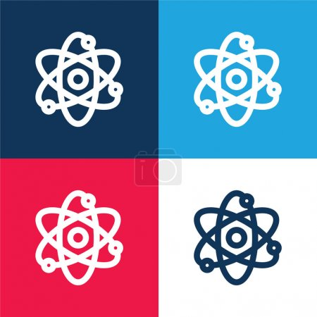 Photo pour Atom bleu et rouge quatre couleurs minimum icône ensemble - image libre de droit