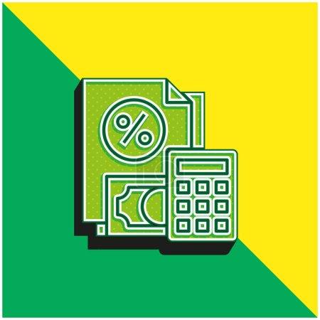 Photo pour Comptabilité Vert et jaune icône vectorielle 3d moderne logo - image libre de droit