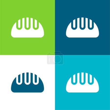 Illustration pour Ensemble d'icônes minimal quatre couleurs Pain plat - image libre de droit